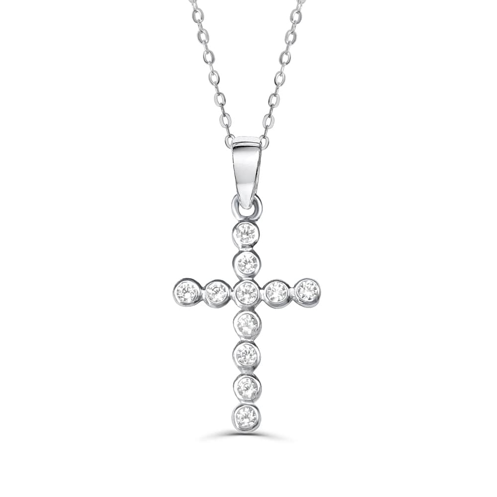 Bubble CZ Cross Pendant Necklace 2