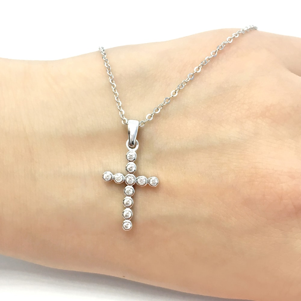 Bubble CZ Cross Pendant Necklace 3