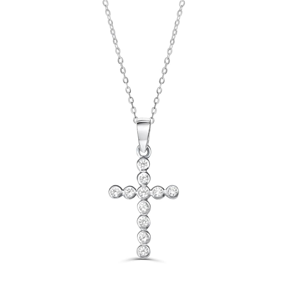 Bubble CZ Cross Pendant Necklace