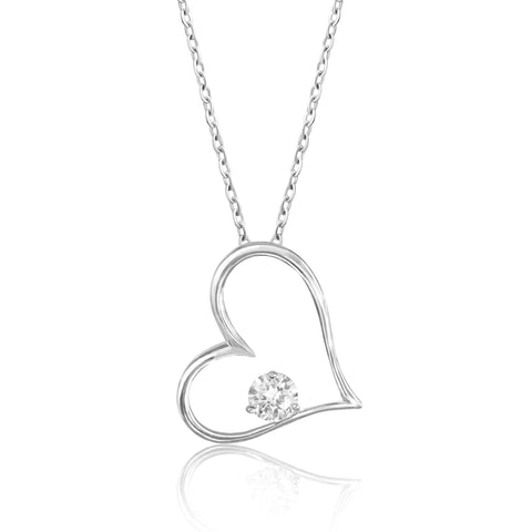 Lovely Sterling Silver  Big Heart Necklace