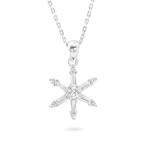 925 Sterling Silver CZ Snowflake Pendant Necklace