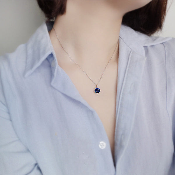 Minimalistic Sterling Silver Blue Agate Crystal Necklace