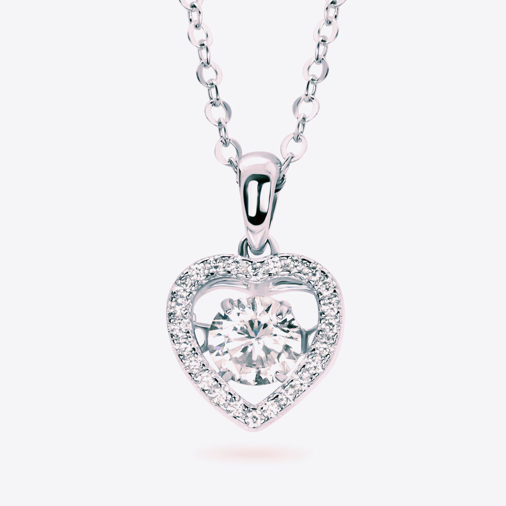 Sterling Silver Gorgeous CZ Dangling Heart Necklace 2