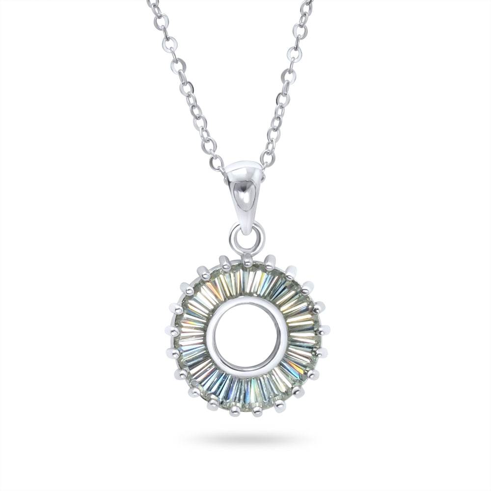Baguette Cut CZ Round Pendant Necklace