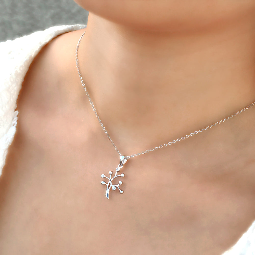 Fashion 925 Sterling Silver CZ Tree Necklace 2