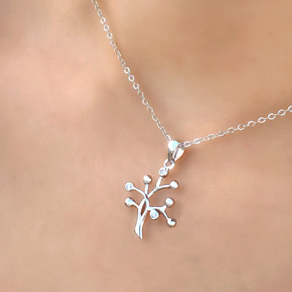 Sterling Silver CZ Tree of Life Necklace