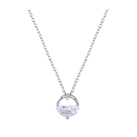 Silver Angel Tear Cubic Zirconia Pendant Necklace