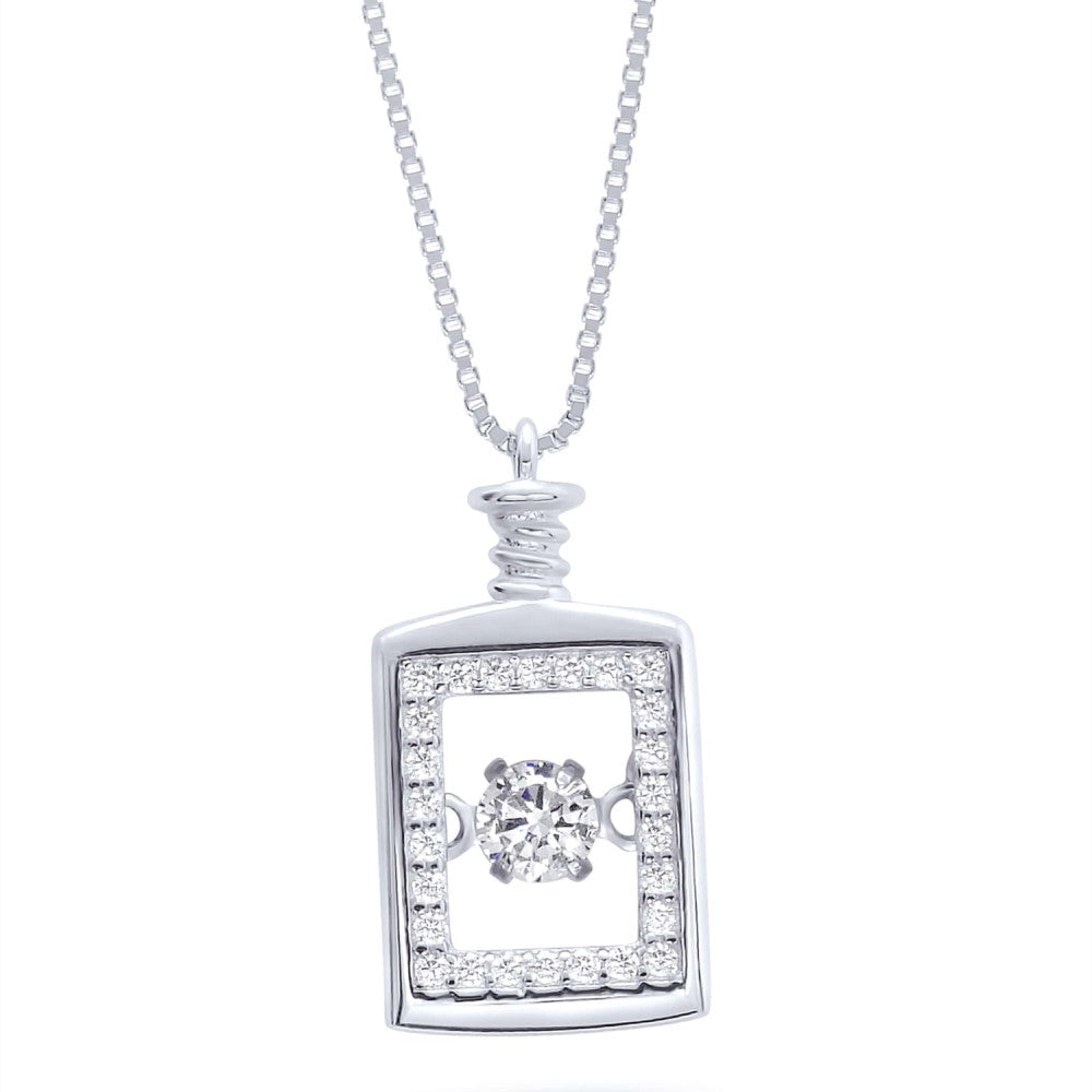 Sterling Silver Especially Cz Perfume Dangling Necklace