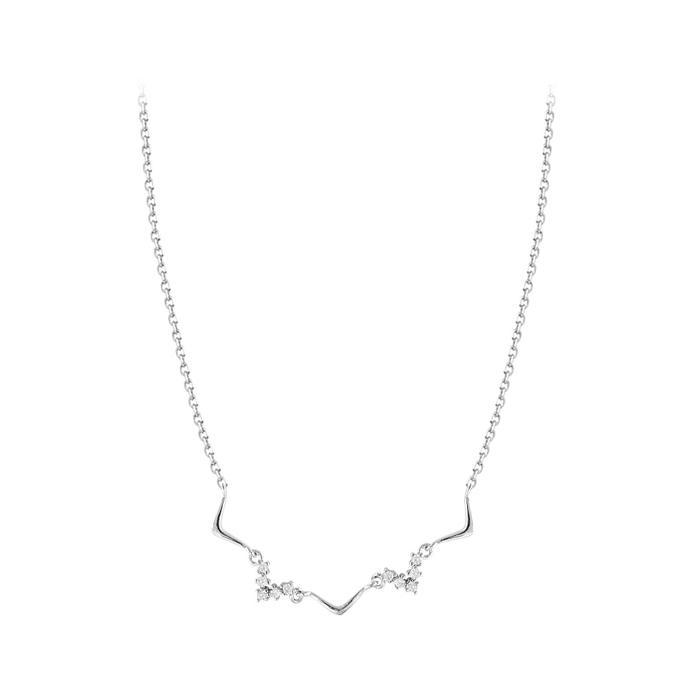 Cubic Zirconia Fashion Ocean Wave Silver Necklace 6