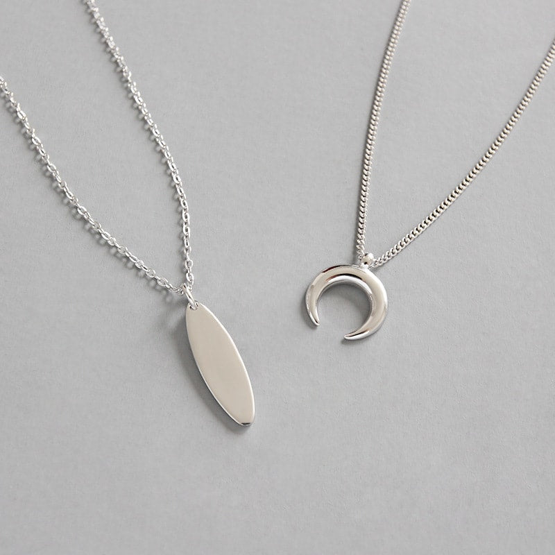 Sterling Silver Crescent Horn Layer Necklace