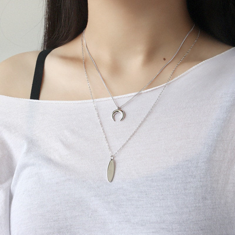Sterling Silver Crescent Horn Layer Necklace 3