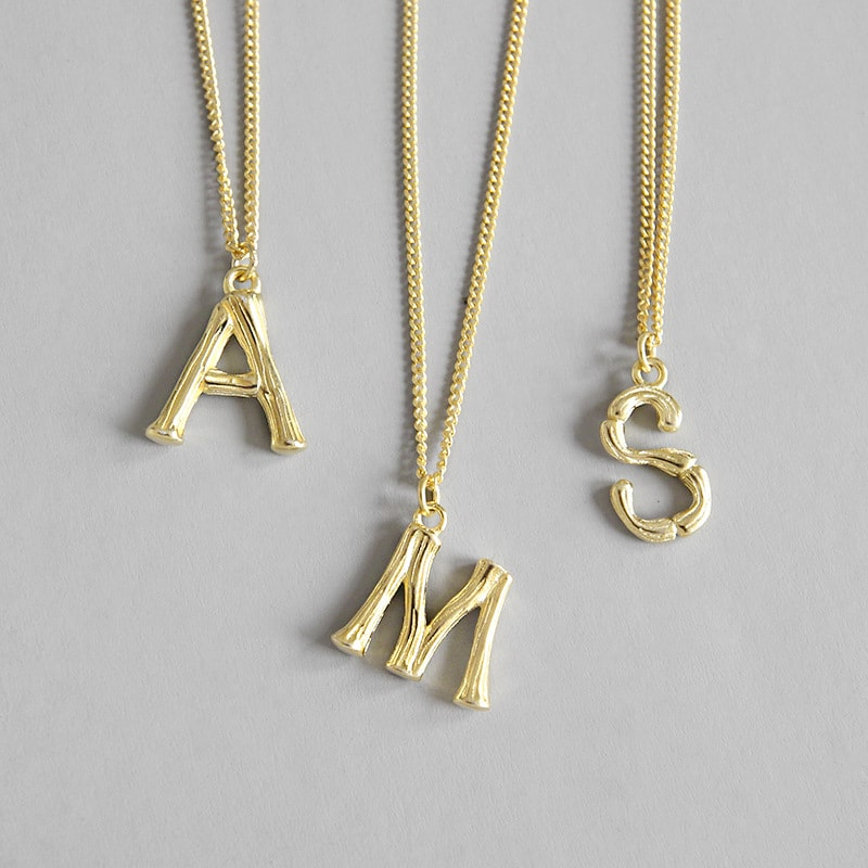 Gold Plated Sterling Silver Letter Necklace (A,M,S)