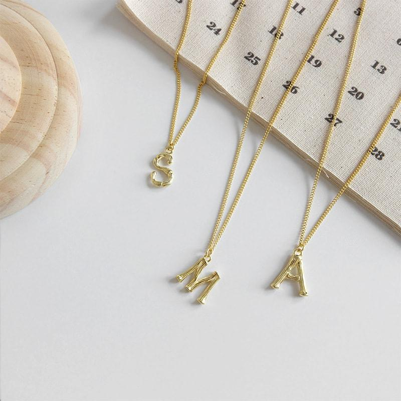 Gold Plated Sterling Silver Letter Necklace (A,M,S) 3