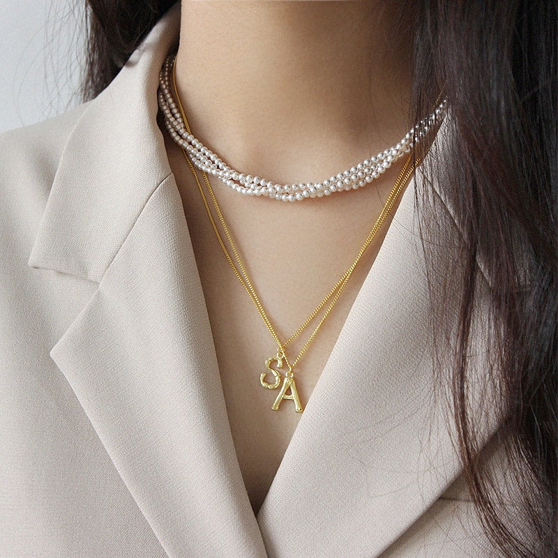 Gold Plated Sterling Silver Letter Necklace (A,M,S) 5