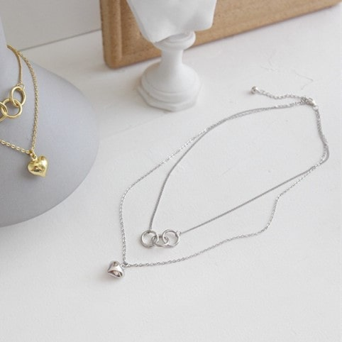 Sterling Silver Heart Double Layer Choker Necklace 6