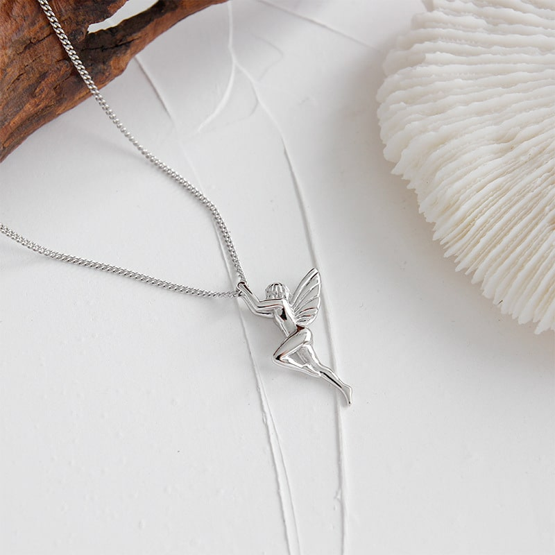925 Sterling Silver Guardian Angel Charm Pendant Necklace