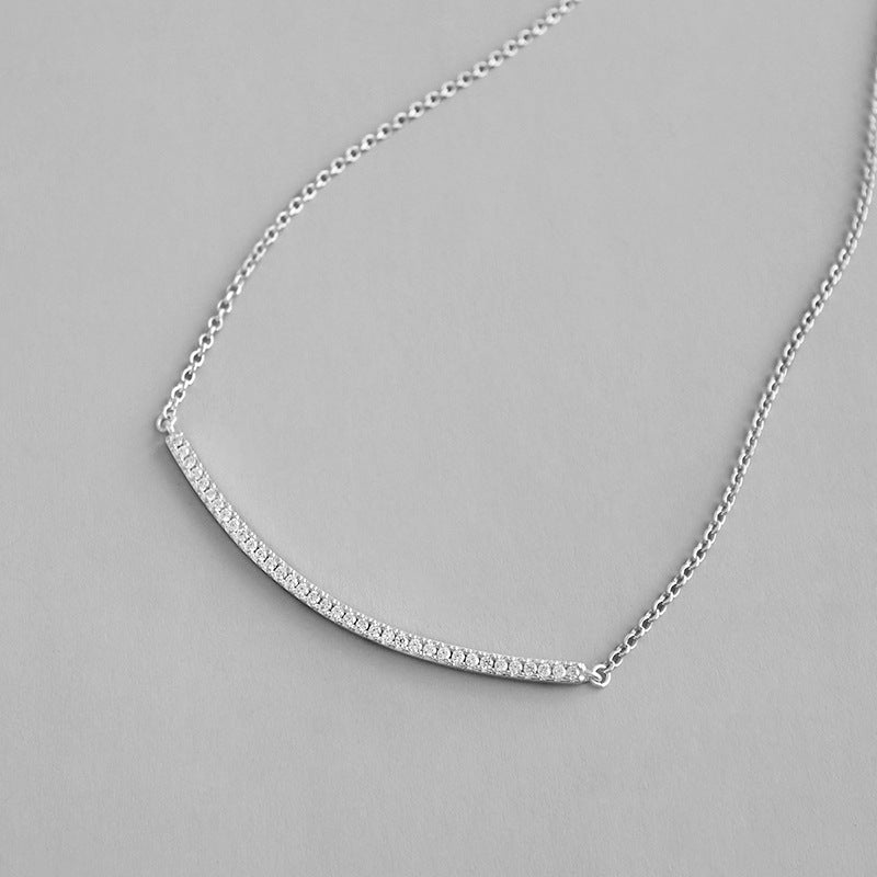 Sterling Silver Adjustable Curved Bar Necklace 2