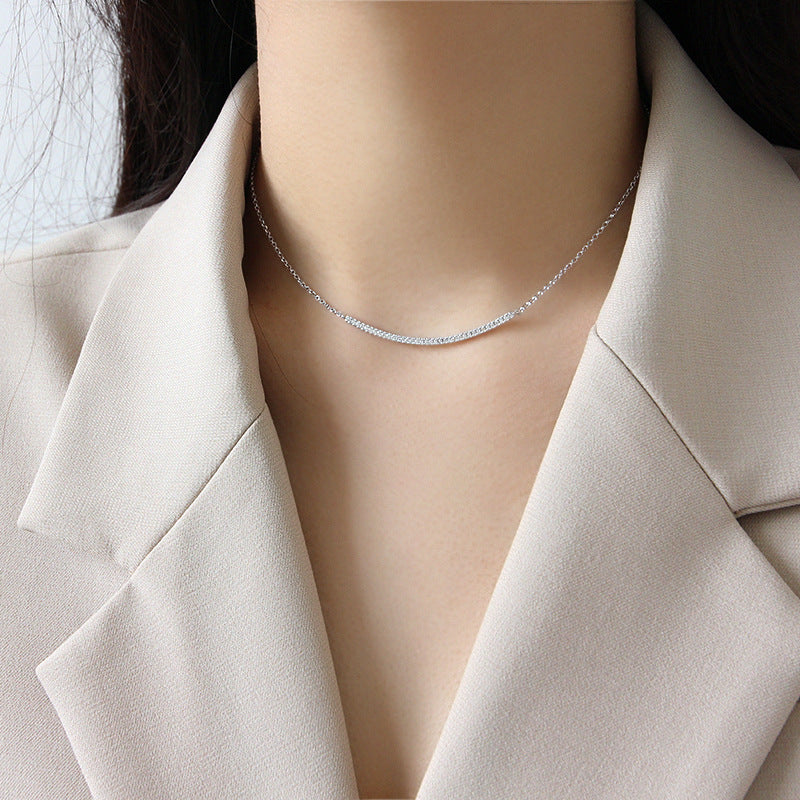 Sterling Silver Adjustable Curved Bar Necklace 4