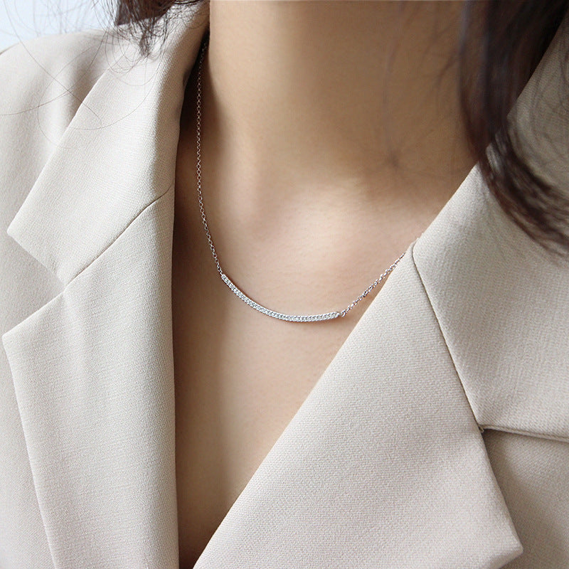 Sterling Silver Adjustable Curved Bar Necklace