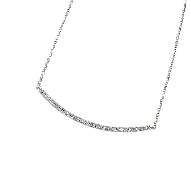 Sterling Silver Adjustable Curved Bar Necklace 5