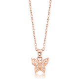 "Rose Gold Plated Silver CZ Sparkling Butterfly Pendant Necklace 16""+ 2"" Extender - Jewelry - Prjewel.com - 1"