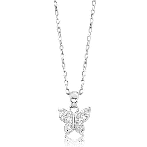 "Silver CZ Sparkling Butterfly Pendant Necklace 16""+ 2"" Extender - Jewelry - Prjewel.com - 1"