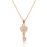 "Rose Gold Plated 925 Silver CZ Fabulous key Pendant Necklace 16""+ 2"" - Jewelry - Prjewel.com - 1"