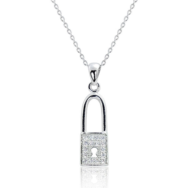 "Cubic Zirconia Fashionable Lock Silver Necklace 16""+ 2"" Extender - Jewelry - Prjewel.com - 1"
