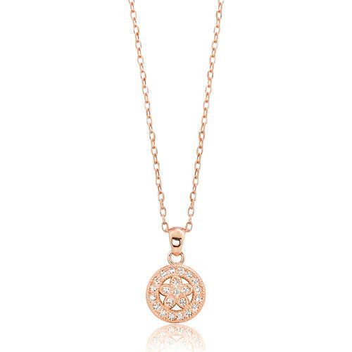 "Rose Gold over 925 Silver Graceful Circle Pendant Necklace 16""+ 2"" Extender - Jewelry - Prjewel.com - 1"