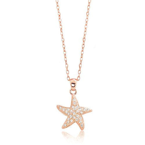 "Rose Gold Plated 925 Sterling Silver CZ Likeable Starfish Necklace 16""+ 2"" Extender - Jewelry - Prjewel.com - 1"