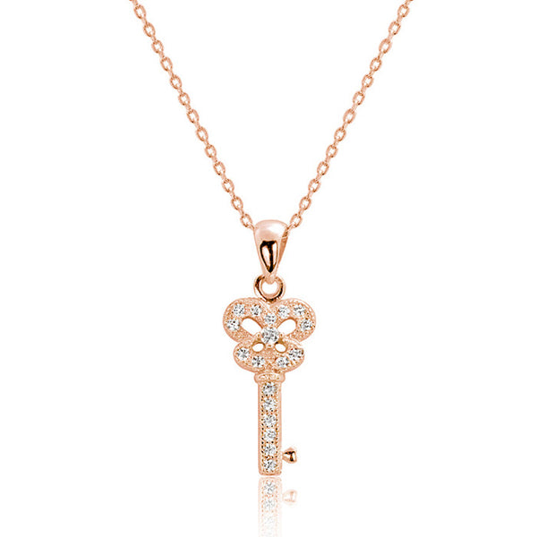 "Rose Gold over 925 Sterling Silver CZ Shining Key Pendant Necklace 16""+ 2"" - Jewelry - Prjewel.com - 1"