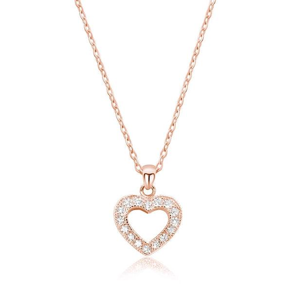 CZ Glamorous Rose Gold Plated Silver Heart Necklace 16