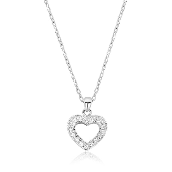 "CZ Glamorous Silver Heart Necklace 16""+ 2"" Extender"