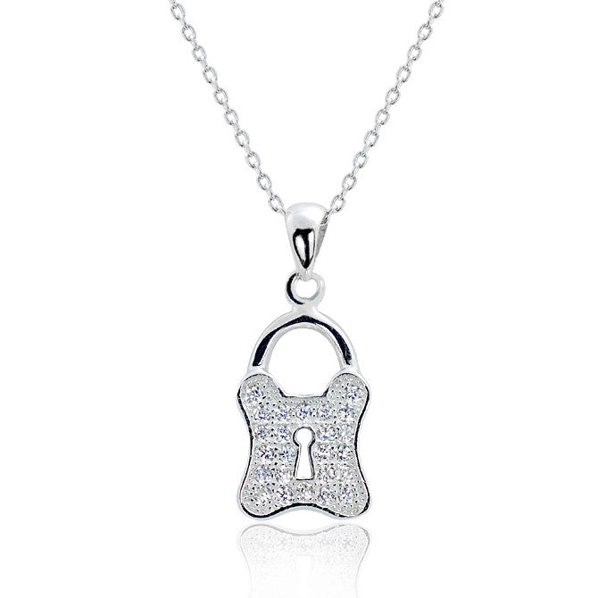 Sterling Silver CZ Stylish Lock Pendant Necklace 16