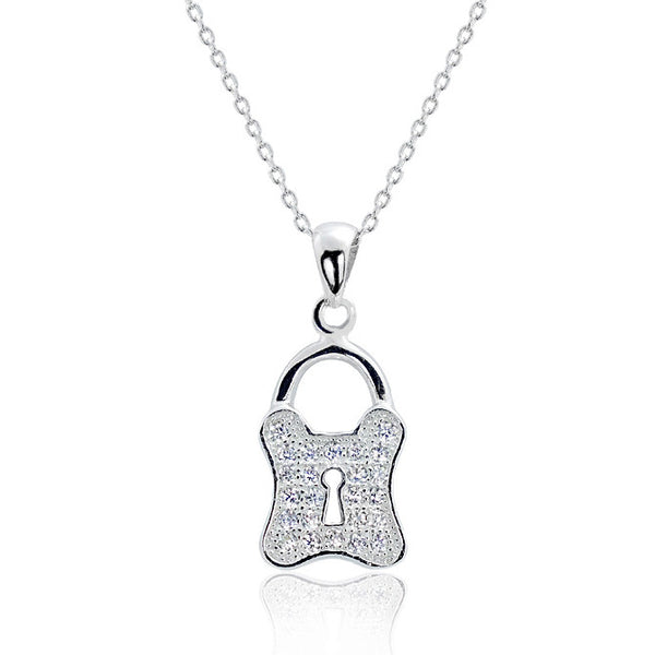 "Sterling Silver CZ Stylish Lock Pendant Necklace 16""+ 2"" - Jewelry - Prjewel.com - 1"