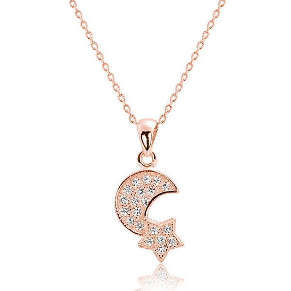Rose Gold over 925 Silver CZ Lovely Moon and Star Pendant Necklace 16
