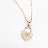 Rose Gold Plated 925 Sterling Silver CZ Romantic Heart Lock Necklace 16