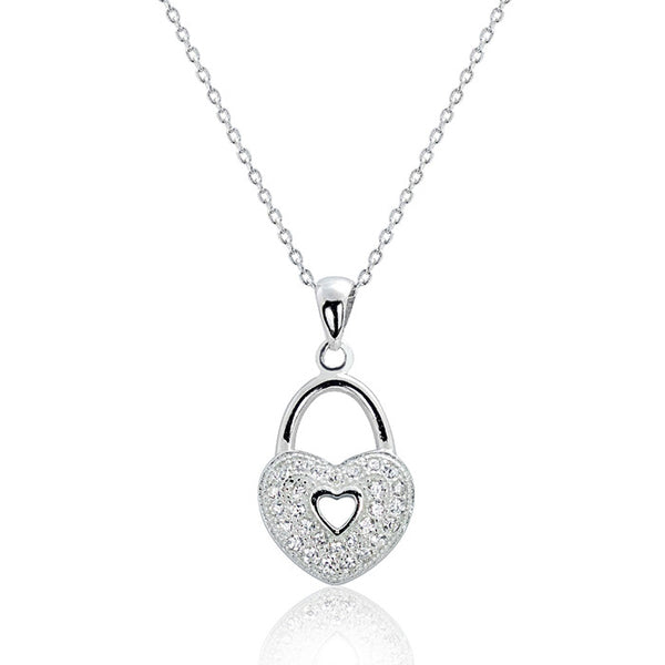 "Sterling Silver Cubic Zirconia Romantic Heart Lock Necklace 16""+ 2"" - Jewelry - Prjewel.com - 1"