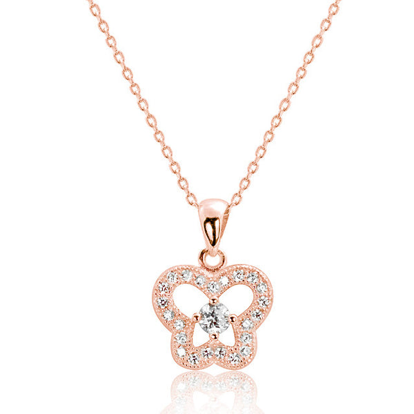 Rose Gold Plated 925 Sterling Silver CZ Elegant Butterfly Necklace 16