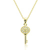 Sterling Silver Cubic Zirconia Attractive Key Necklace 16+2 Inch Gold