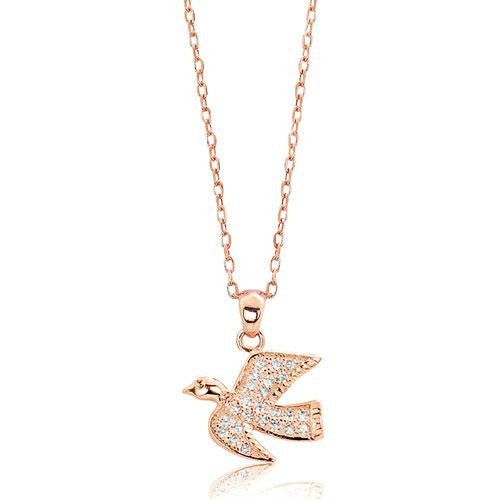 Rose Gold Plated 925 Sterling Silver CZ Lively Pigeon Pendant Necklace 16