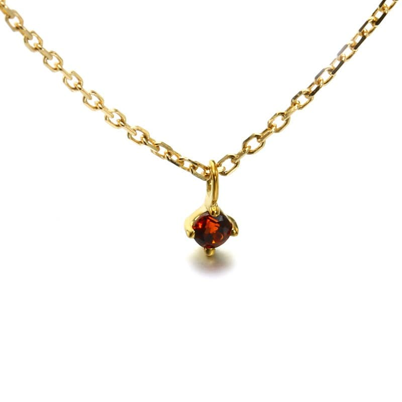 9K Solid Gold Red Garnet Minimalist Pendant Necklace Jewelry 2
