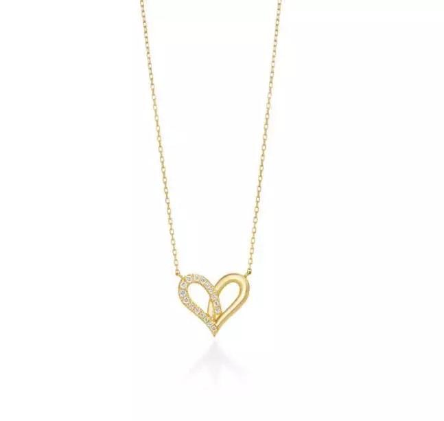 9K Solid Gold Moissanite Heart Necklace Jewelry
