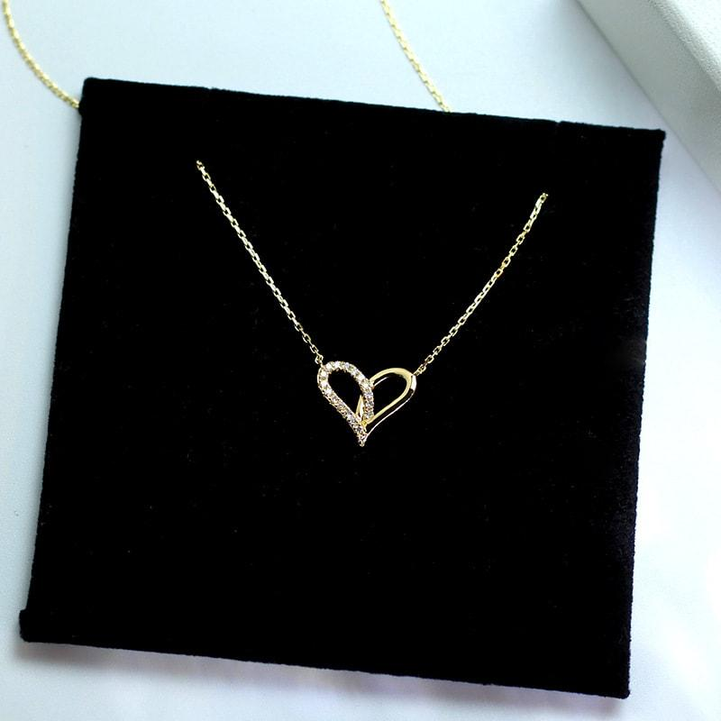9K Solid Gold Moissanite Heart Necklace Jewelry 2