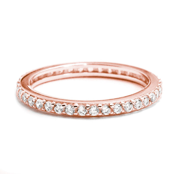 925 Sterling Silver Rose Gold over CZ Eternity Band Ring