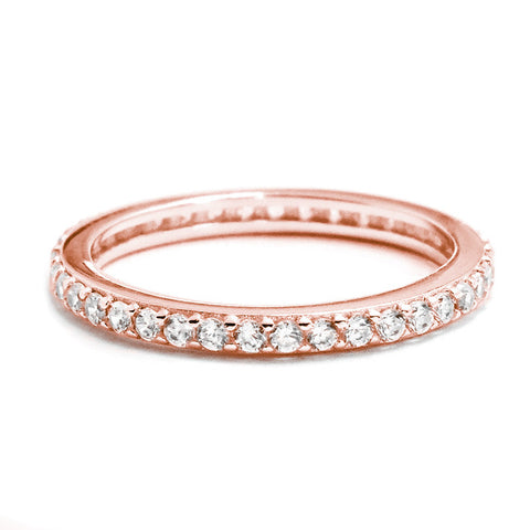 925 Sterling Silver Rose Gold over CZ Eternity Band Ring - Jewelry - Prjewel.com - 1