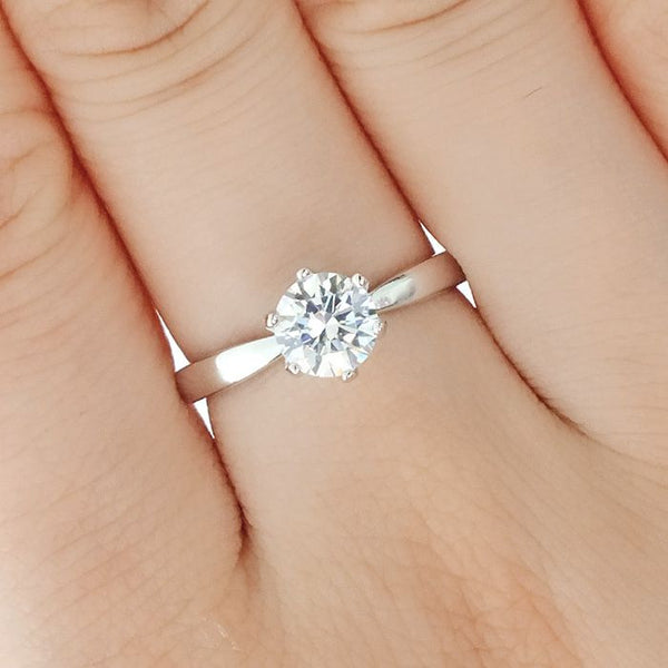 Hearts and Arrows Cubic Zirconia Sterling Silver Ring