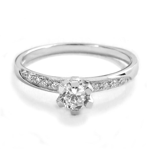 Elegant 925 Sterling Silver Cubic Zirconia Ring - Jewelry - Prjewel.com - 1