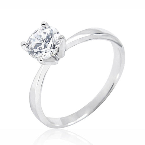 Sterling Silver 1.4 Carat Cubic Zirconia Solitaire Ring
