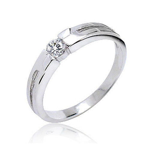 Cubic Zirconia 925 Sterling Silver Ring 3.5mm